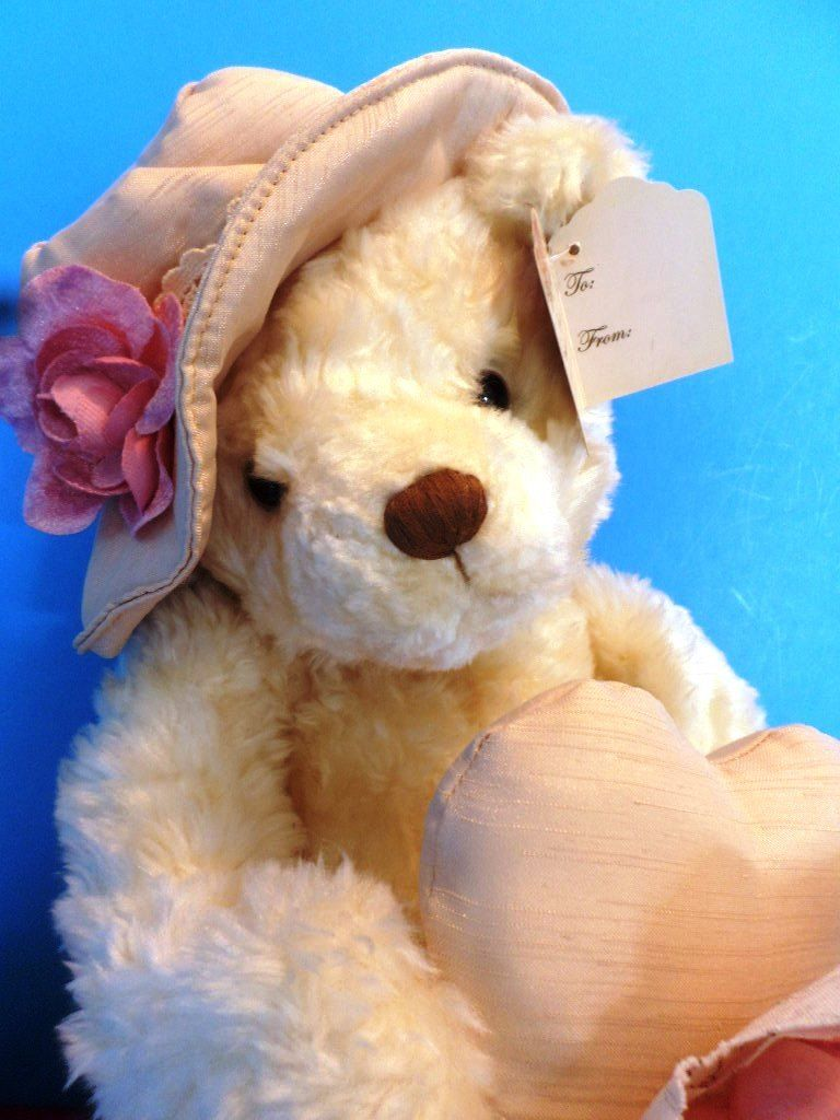 AMSCAN Bears to Adore Tan Bear in Rose Hat and Heart Pillow Plush