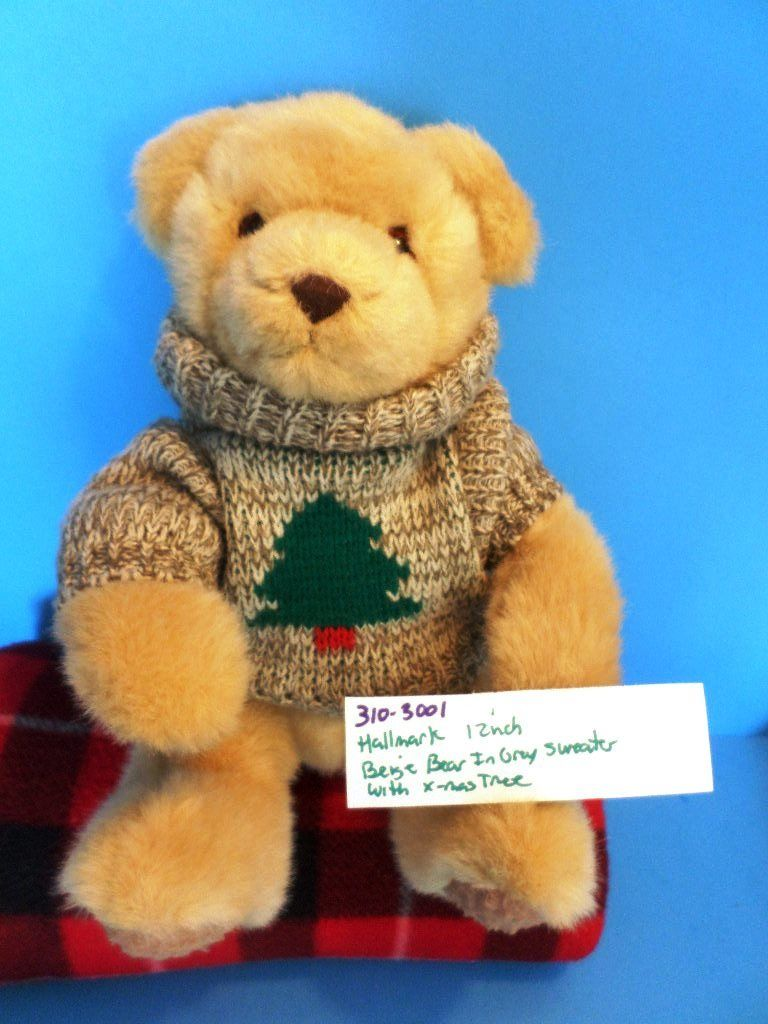 Hallmark Tan Beige Teddy Bear In Grey Sweater With X-Mas Tree Plush