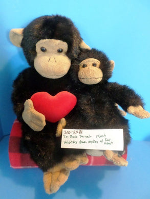 Target Tri-Russ Chimp with Red Heart and Small Monkey Beanbag Plush