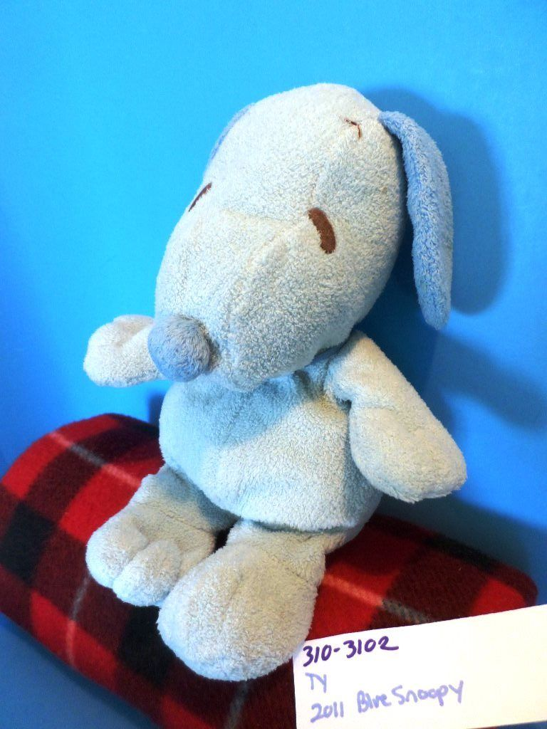 Ty Pluffies Snoopy Blue Dog 2011 Beanbag Plush