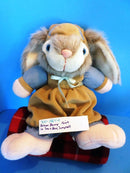 Brown Bunny in Tan and Blue Jumpsuit Happy Easter Plush