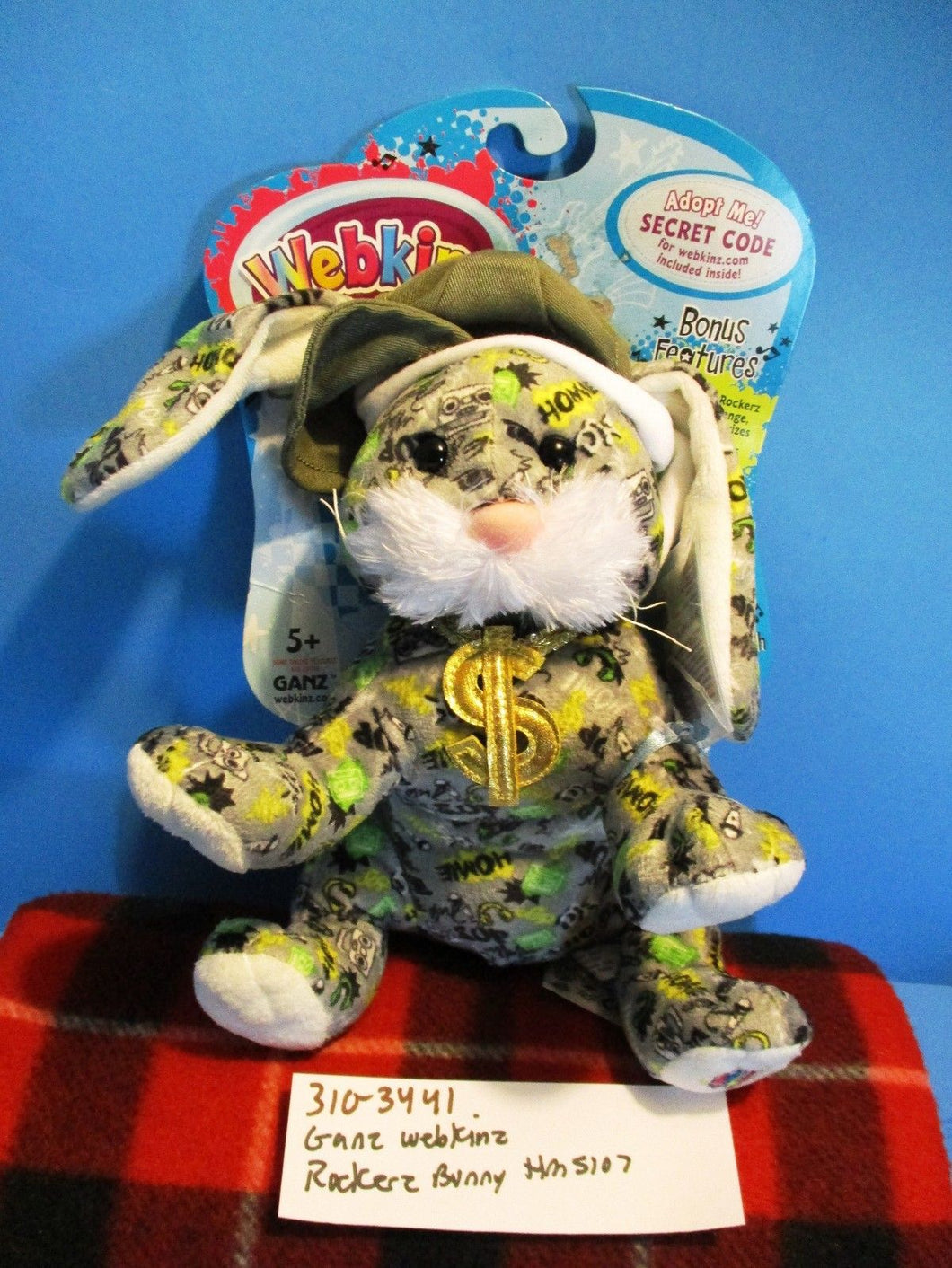 Ganz Webkinz Rockerz Bunny Rabbit HMS107 plush with Code (310-3441)
