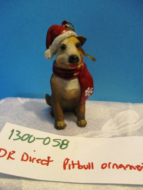 DRDirect Pitbull Dog Ornament With Red Hat and Scarf