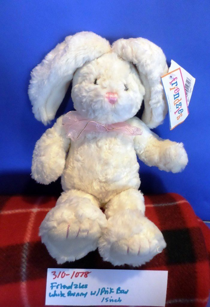 Target Friendzies White Bunny Rabbit With Pink Bow 2000 Beanbag Plush