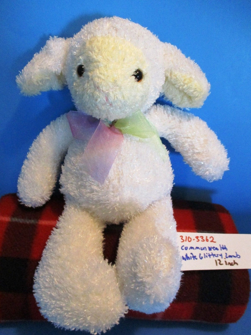 Commonwealth Glittery White Lamb Beanbag Plush