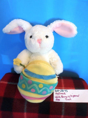 Hallmark White Bunny Rabbit with Zippered Egg Beanbag Plush