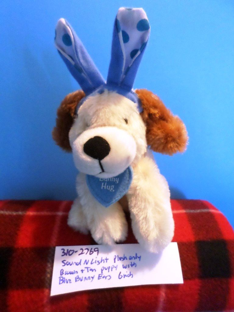 Sound N Light Brown and Tan Puppy Dog with Blue Bunny Ears Plush