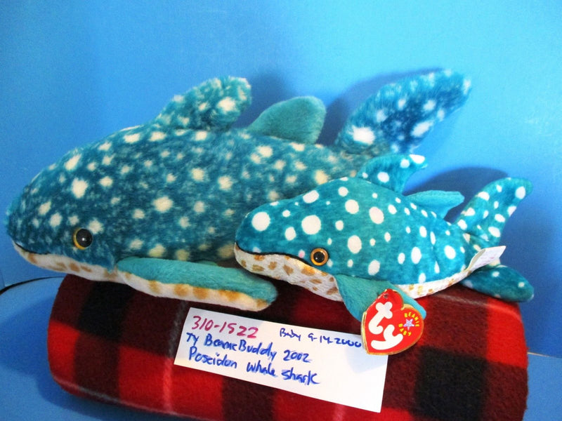 Ty Beanie Buddy 2002 and Baby 2000 Poseidon Whale Shark Beanbag Plushes
