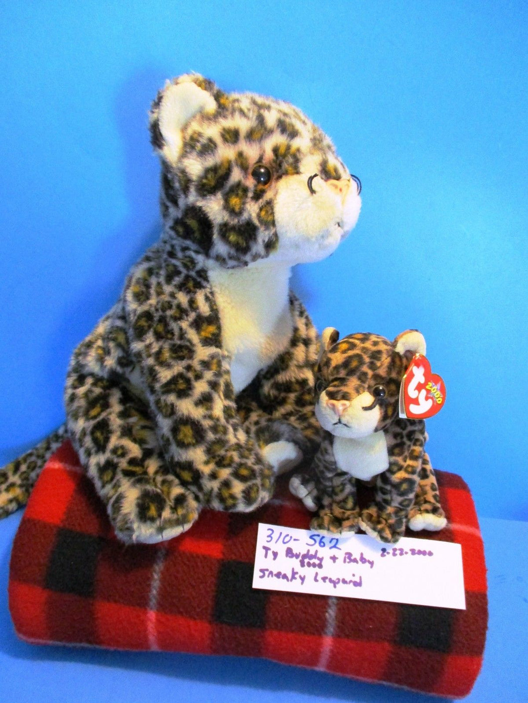 Ty Buddy and Baby Sneaky the Leopard 2000 Plush