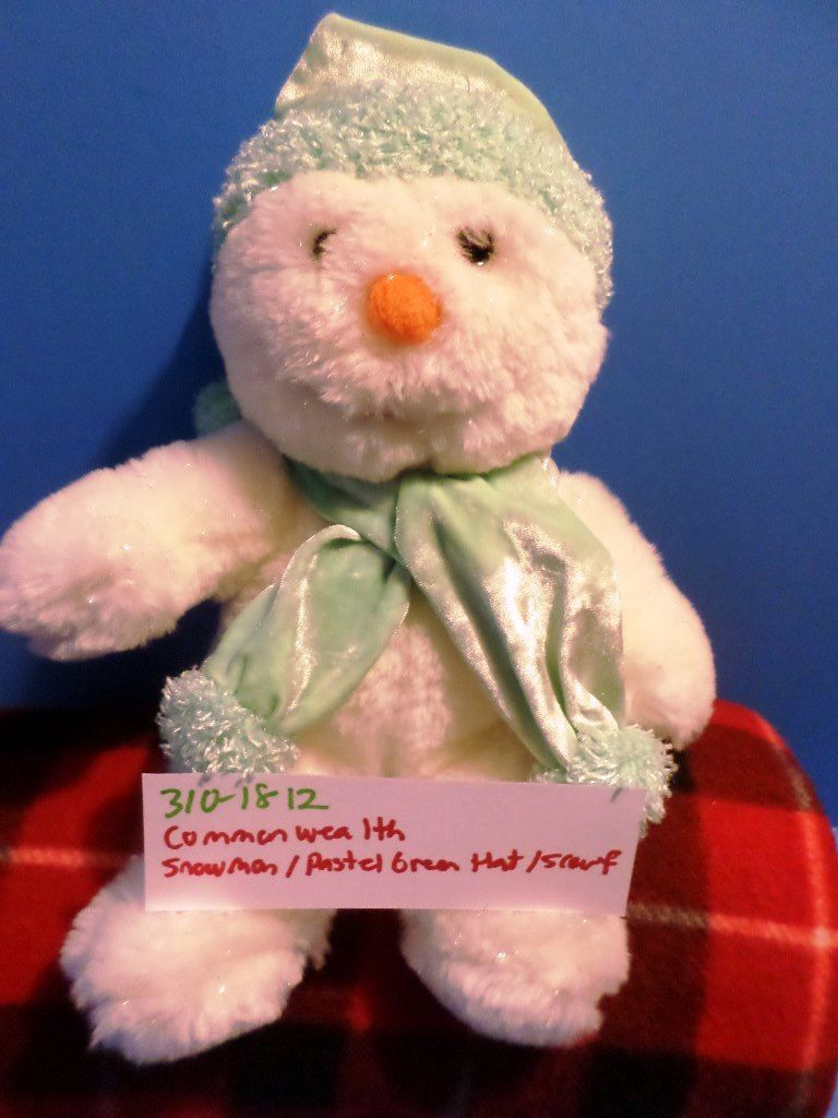 Commonwealth Snowman in Pastel Green Hat and Scarf 2001 Beanbag Plush