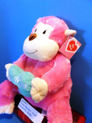Animal Adventure Valentines Pink Monkey with Blue Heart Plush