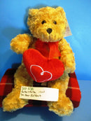 Burton and Burton Tan Teddy Bear With Red Heart Plush