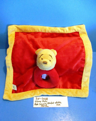 Disney Baby Pooh Red and Yellow Security Blanket With Rattle