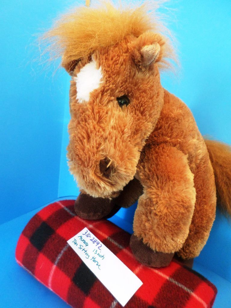 Aurora Tan Brown Sitting Horse Pony Plush