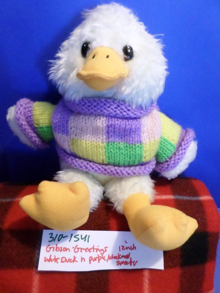 Gibson Greetings White Duck in Purple Sweater 1997 Plush