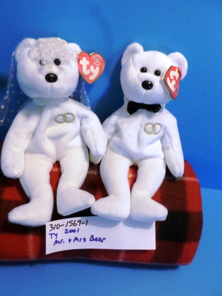 Ty Beanie Babies Mr. and Mrs. Bear 2001 Beanbag Plushes