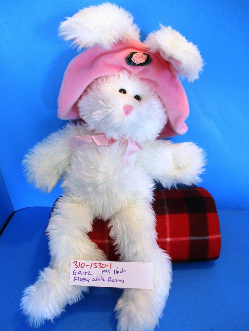 Ganz Flossy the White Bunny Rabbit with Pink Hat 1998 Beanbag Plush