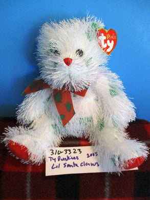 Ty Punkies Lil Santa Claws 2005 White and Green Bear plush(310-3323)