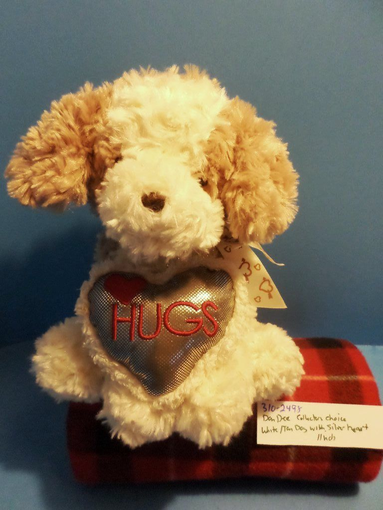 Dan Dee Collectors Choice Tan White Dog with Silver Heart Plush