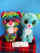 Ty Beanie Boos Dotty 2016 and Leona 2015 Leopard Beanbag Plushes