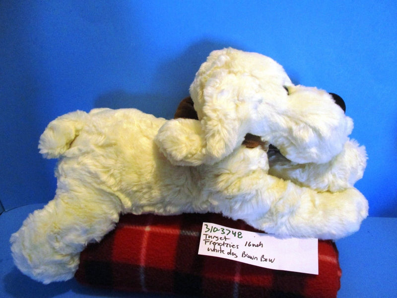 Target Friendzies White Dog With Brown Bow 2001 Beanbag Plush