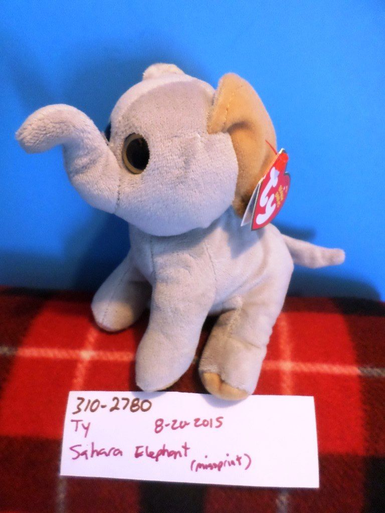 Ty Beanie Babies Sahara the Elephant 2015 Beanbag Plush (With Error)