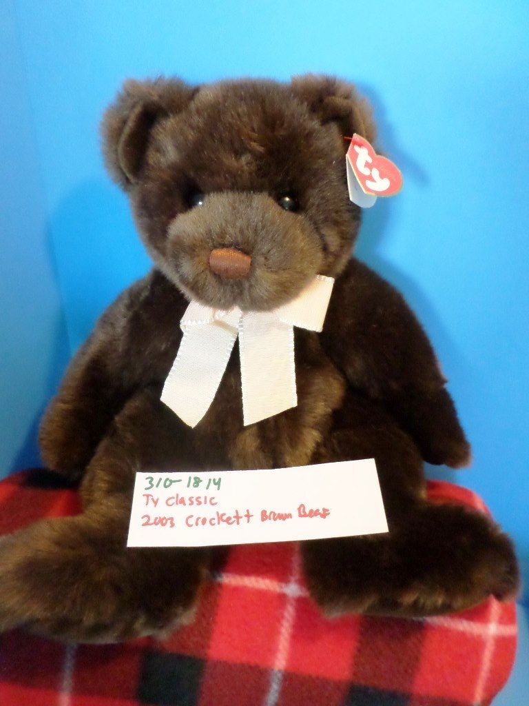 Ty Classic Crockett the Brown Teddy Bear 2003 Beanbag Plush
