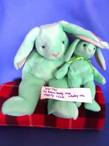Ty Beanie Buddy and Baby Hippity the Green Bunny Rabbit 1998(310-791)
