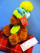 Russ Wagner Brown Teddy Bear Blue Green Hat and Scarf Beanbag Plush