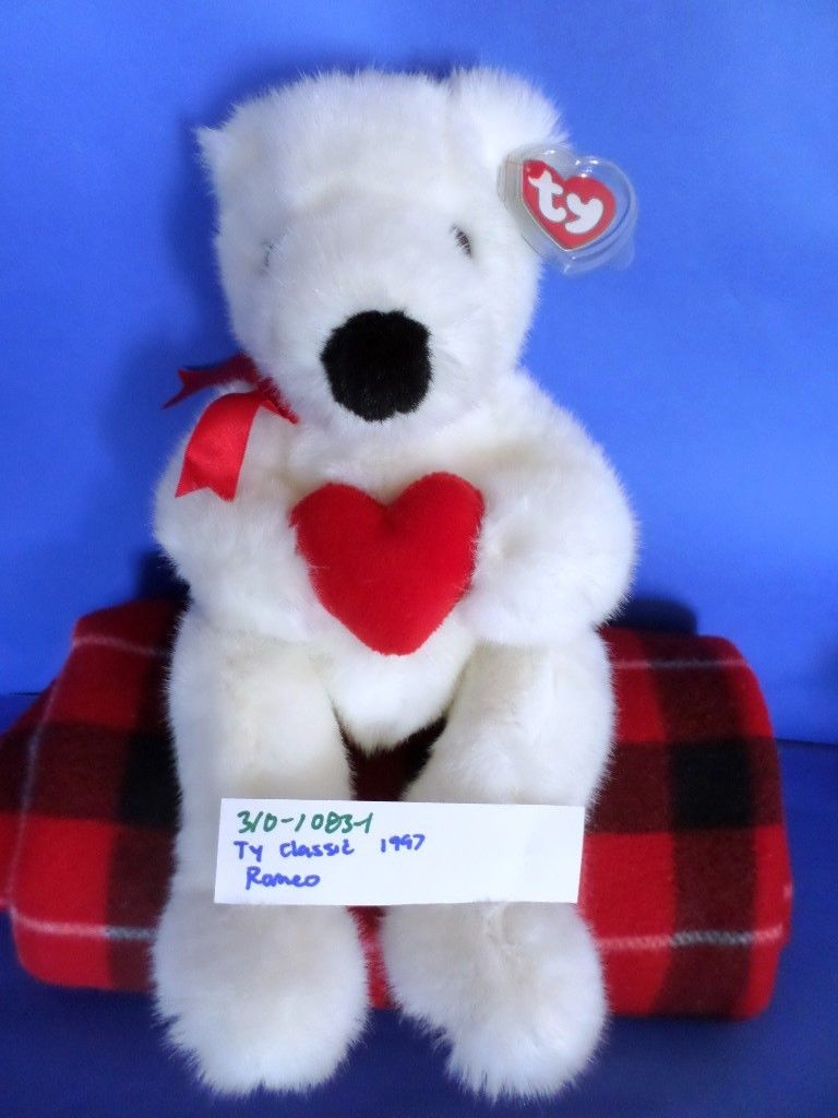 Ty Classic Romeo the White Bear with Red Heart 1997 Beanbag Plush