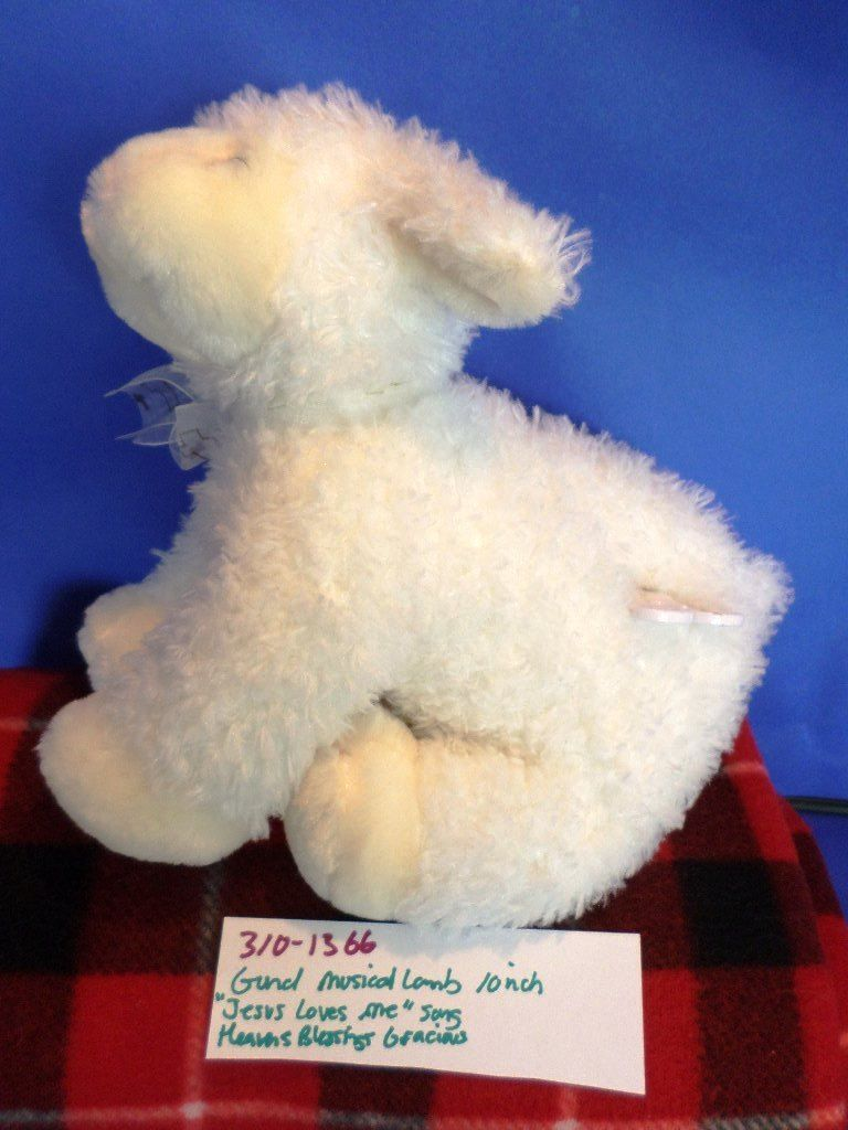 Baby Gund Musical White Lamb Heavens Blessings Gracious Waggie Plush