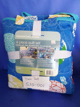Essential Home 4 Piece Twin Quilt Set Blue