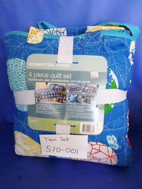 Essential Home 4 Piece Twin Quilt Set Blue(500-001)