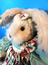 Beige Bunny Rabbit in a Flowered Pinafore Dress beanbag plush(310-3087-1)