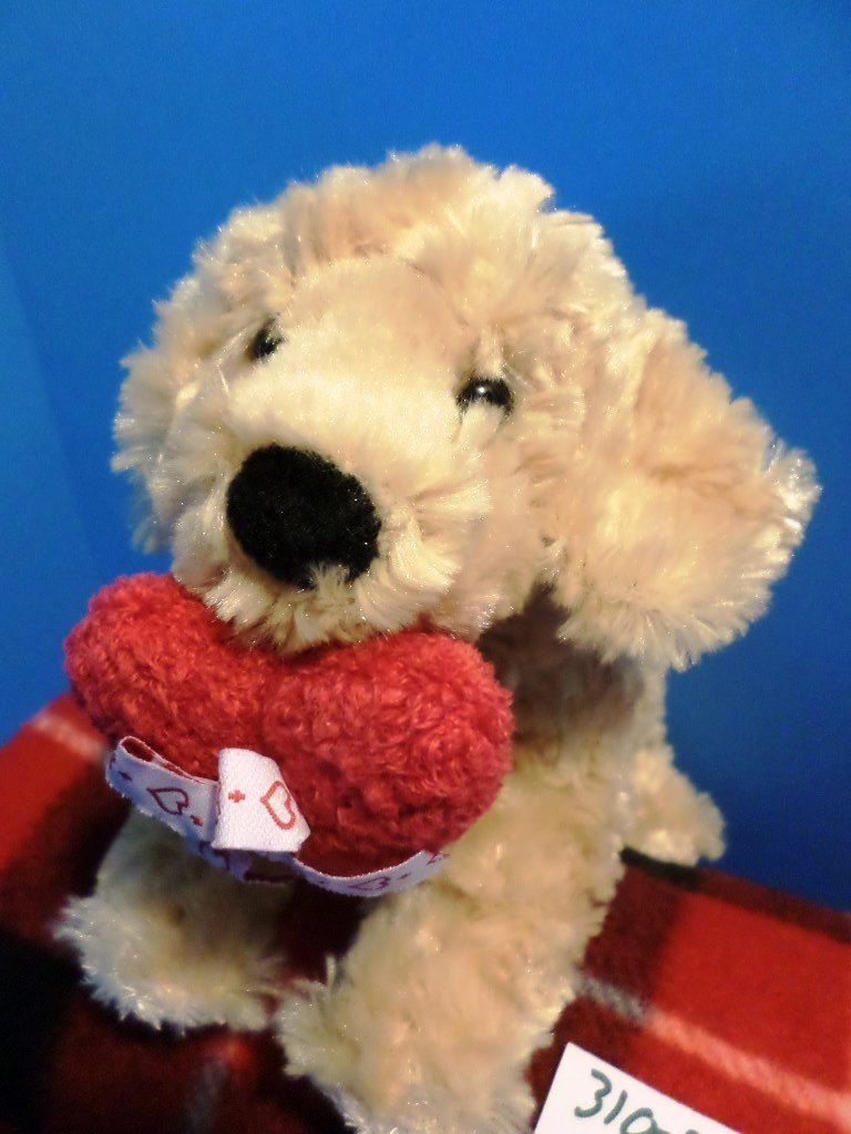 Douglas Golden Retriever Dog with Red Heart Beanbag Plush