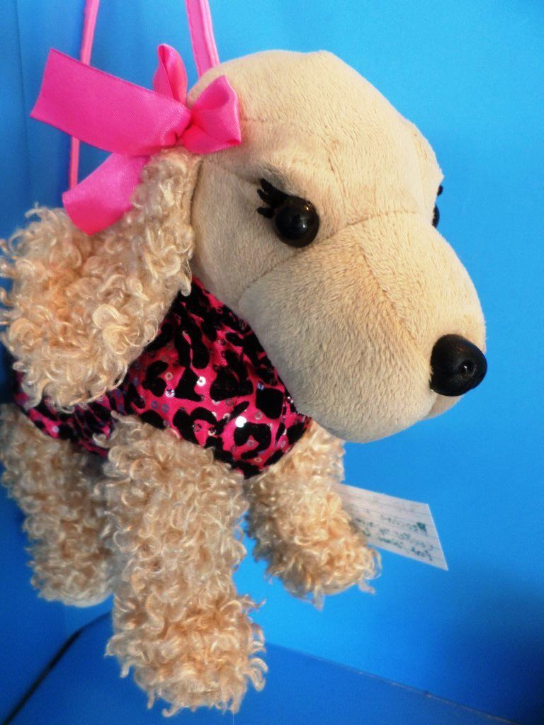 Poochie and Co. Cocker Spaniel Pink Black Leopard Plush Bag Purse