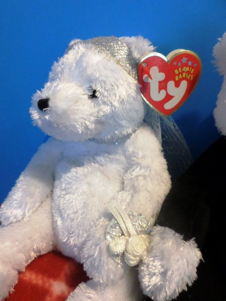 Ty Beanie Babies Bride and Groom Wedding Bears 2001 Beanbag Plushes