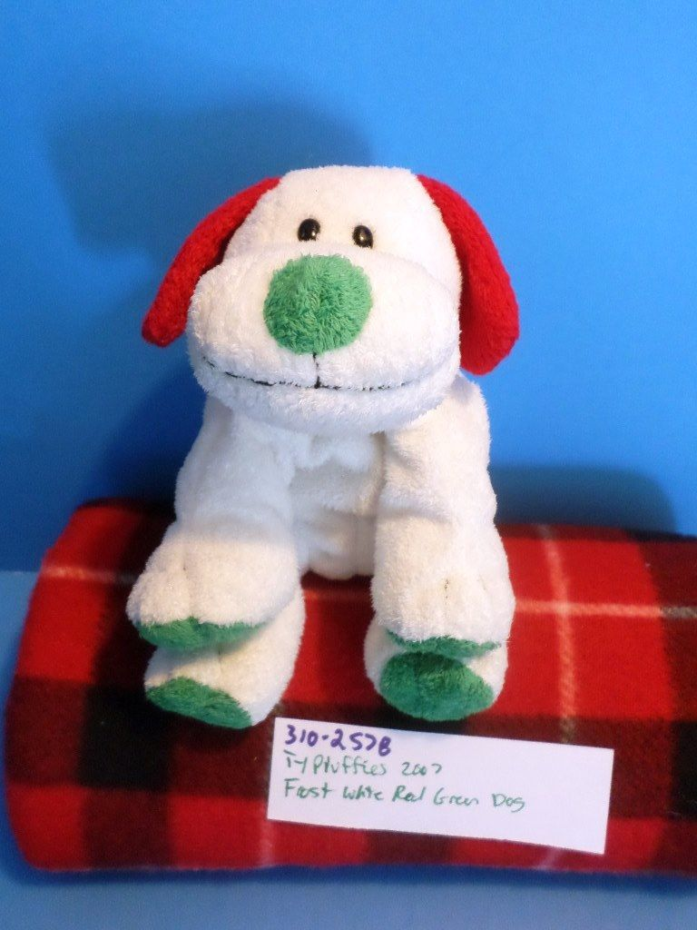 Ty Pluffies Frost the White Red and Green Dog 2007 Beanbag Plush