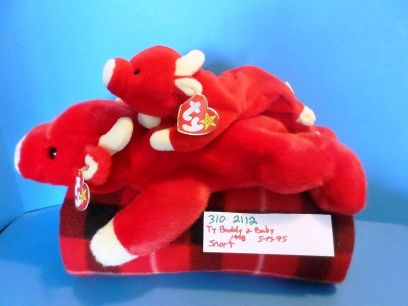 Ty Beanie Buddy 1998 and Baby 1995 Snort Red Bull Beanbag Plushes