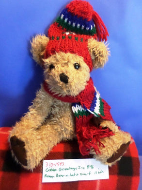 Gibson Greetings Inc Brown Teddy Bear in Red Hat and Scarf 1996 Plush