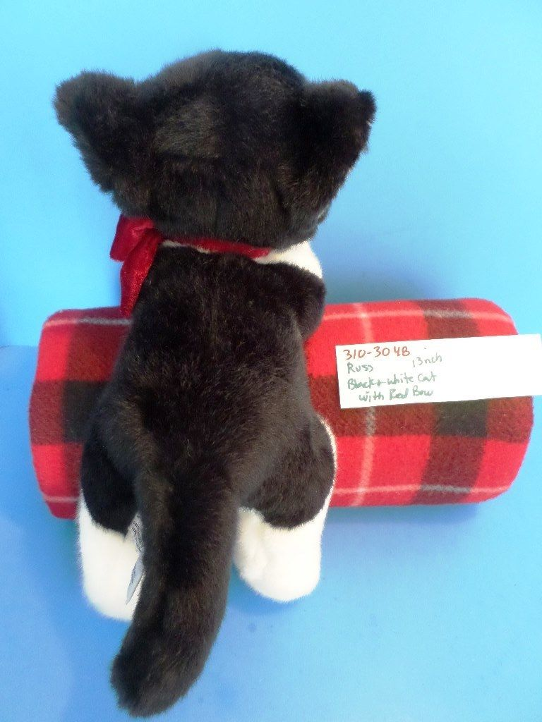 Russ Black and White Cat With Red Bow Beanbag Plush