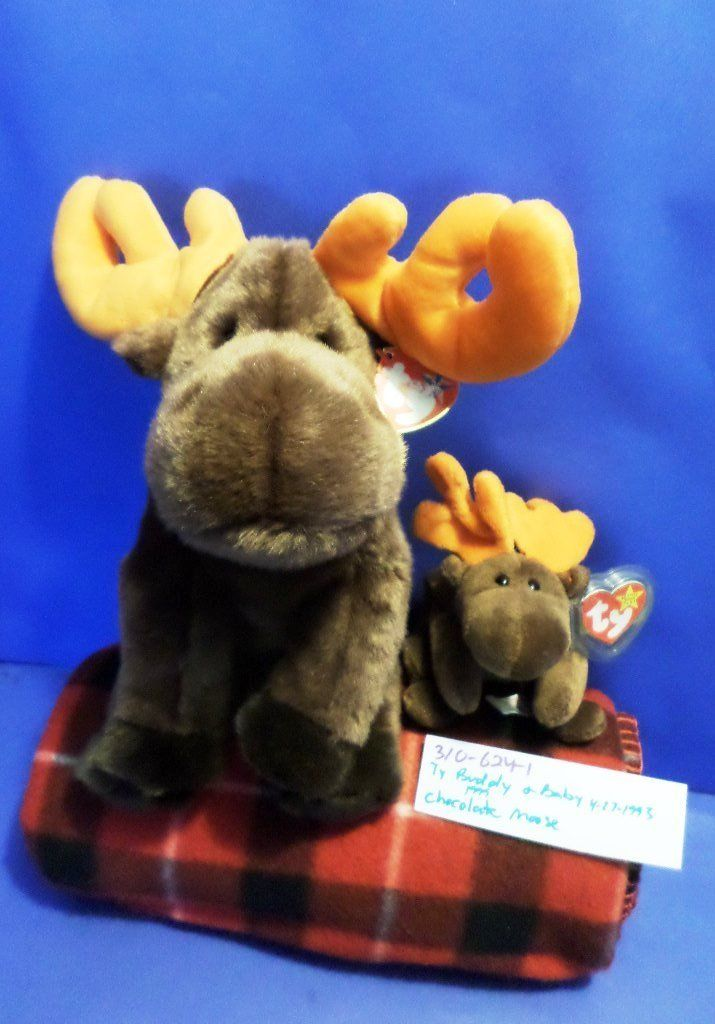Ty Beanie Buddy 1999 and Baby 1993 Chocolate Moose Beanbag Plushes