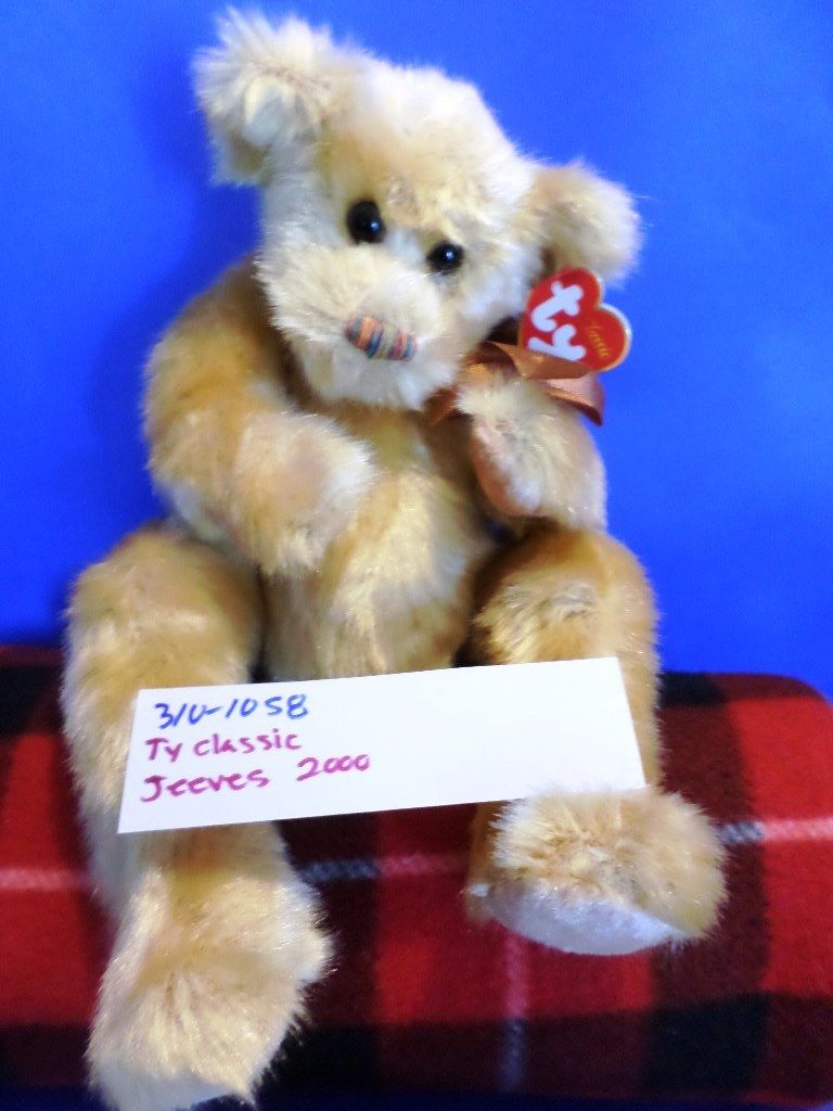 Ty Classic Jeeves the Gold Bear 2000 Beanbag Plush