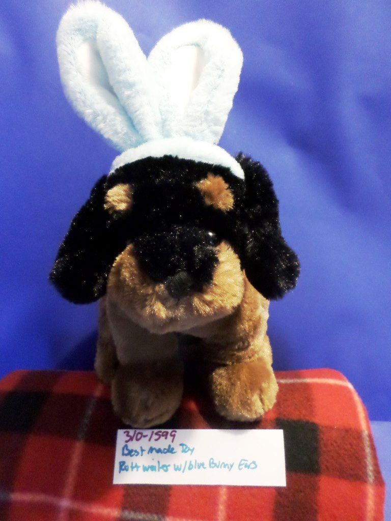 Best Made Toys Black Tan Rottweiler Puppy Dog with Blue Bunny Rabbit Ears Plush