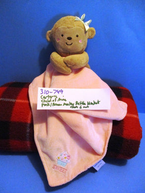 Carter's Child of Mine Brown Monkey Rattle Pink Security Blanket