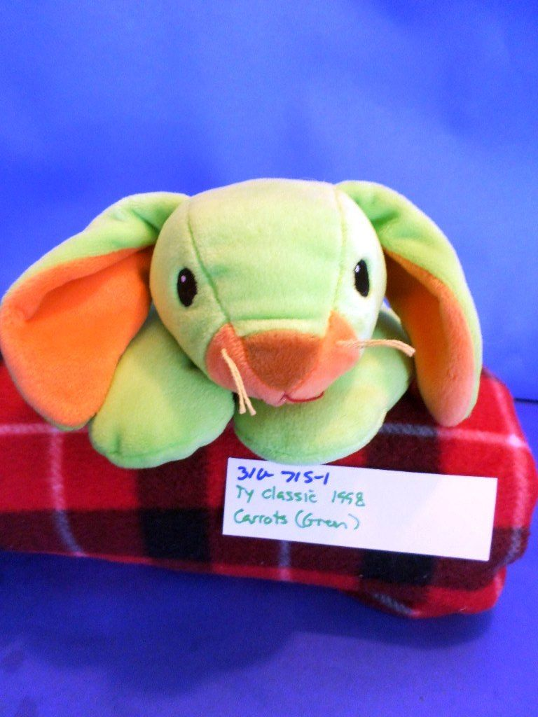 Ty Pillow Pals Carrots Green Bunny Rabbit 1998 Plush
