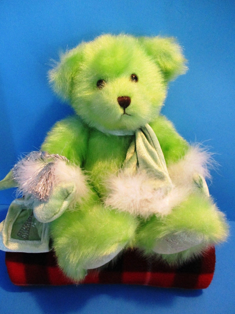 G A C Lime Green Teddy Bear 2000 Beanbag Plush