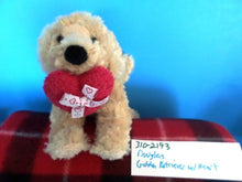 Douglas Golden Retriever with Red Heart Beanbag Plush