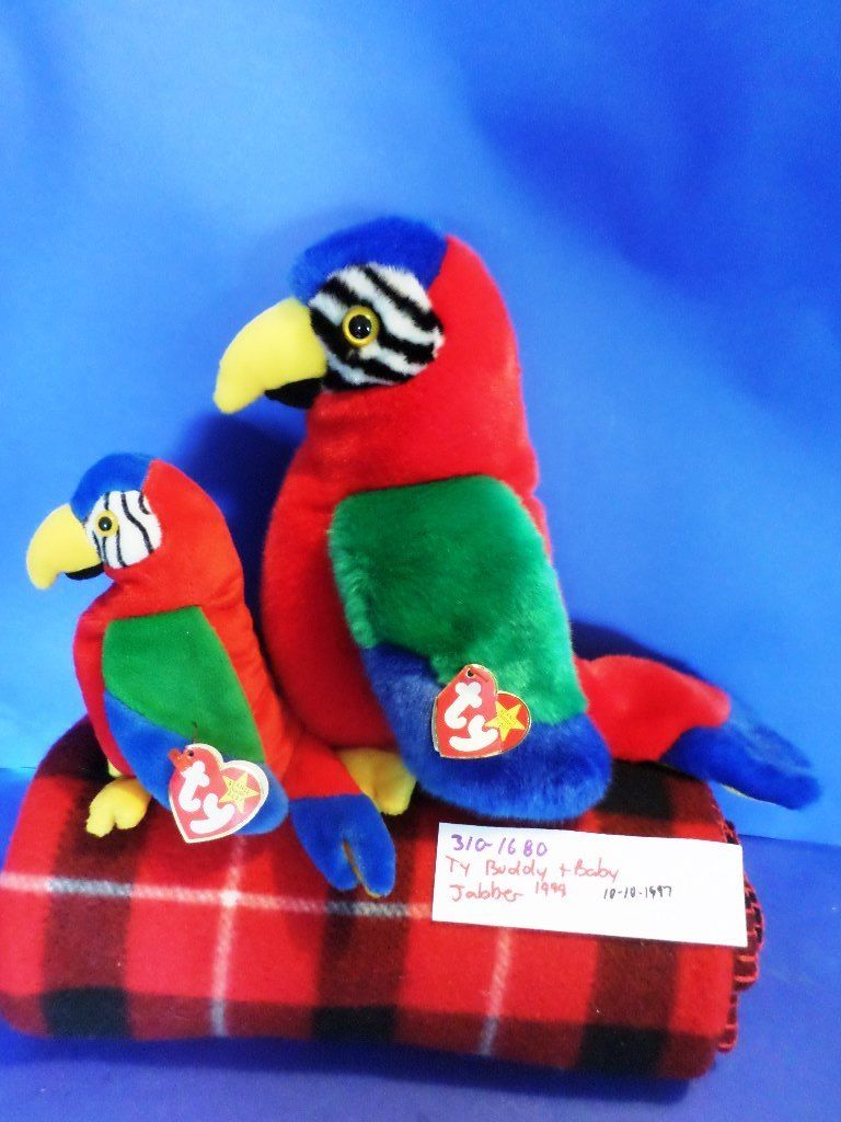 Ty Beanie Buddy 1999 and Baby 1997 Jabber Parrot Beanbag Plushes