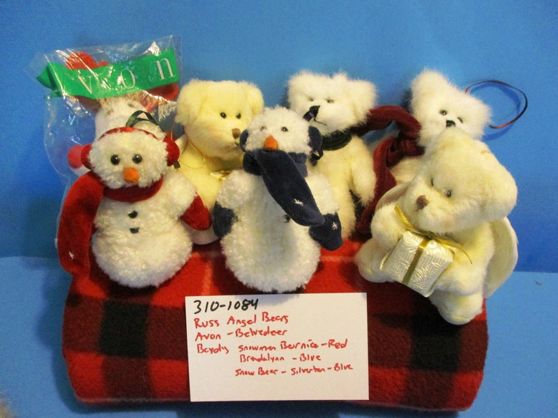 Boyd's Avon Russ Christmas Ornament Bears Plush (Lot of 8)